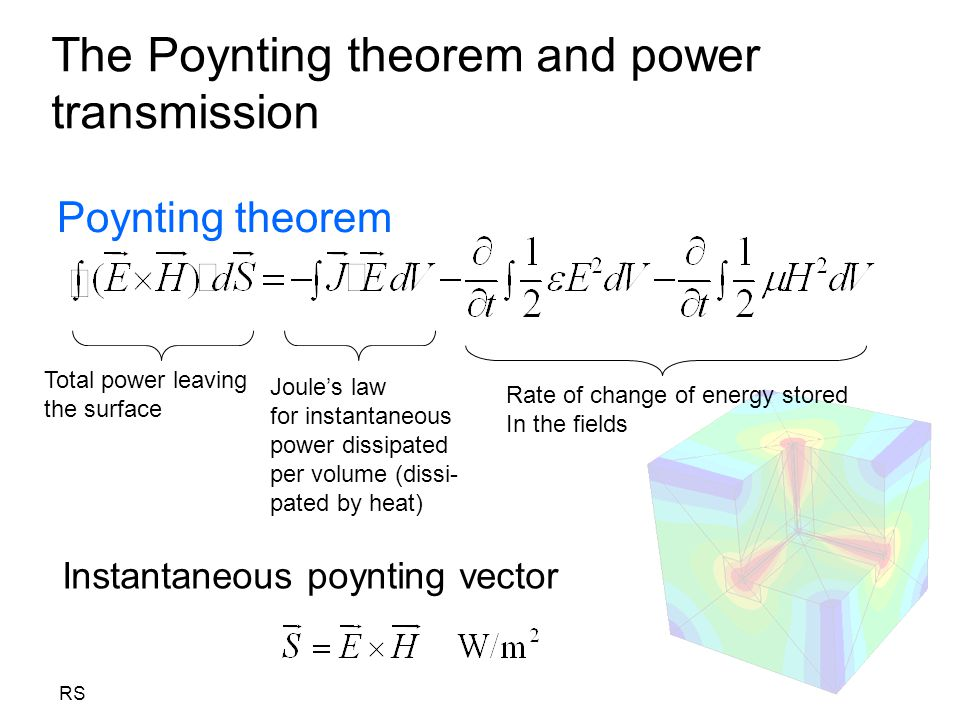 RS The Poynting theorem and power transmission Poynting theorem Total power leaving the surface Joule's law for instantaneous power dissipated per vol