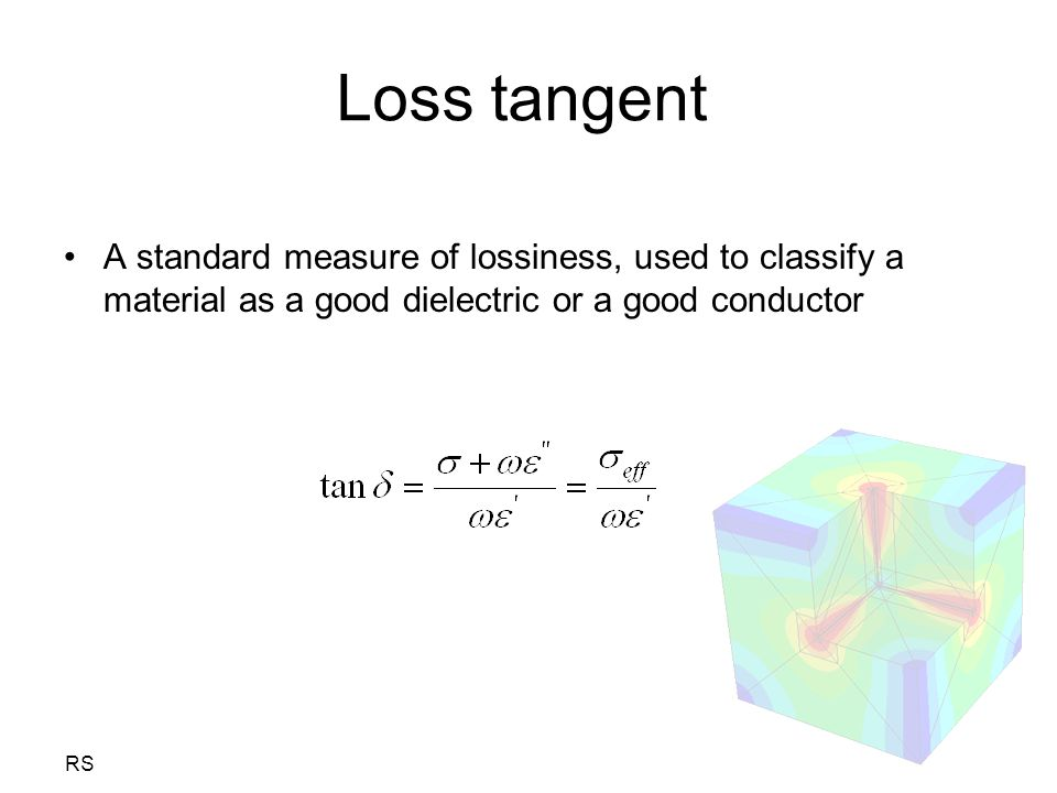 RS Loss tangent A standard measure of lossiness, used to classify a material as a good dielectric or a good conductor