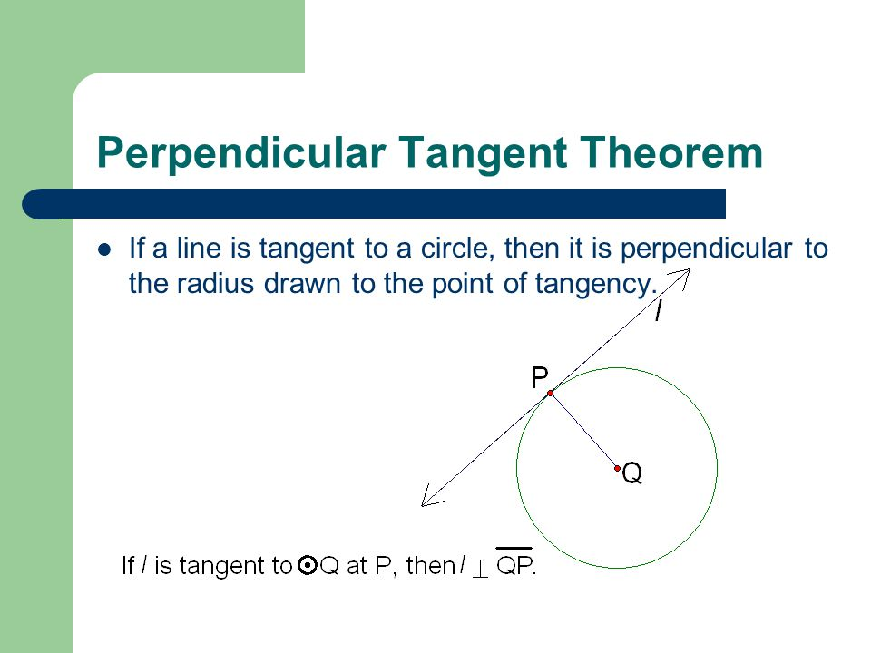 Perpendicular Tangent Theorem If a line is tangent to a circle, then it is perpendicular to the radius drawn to the point of tangency.