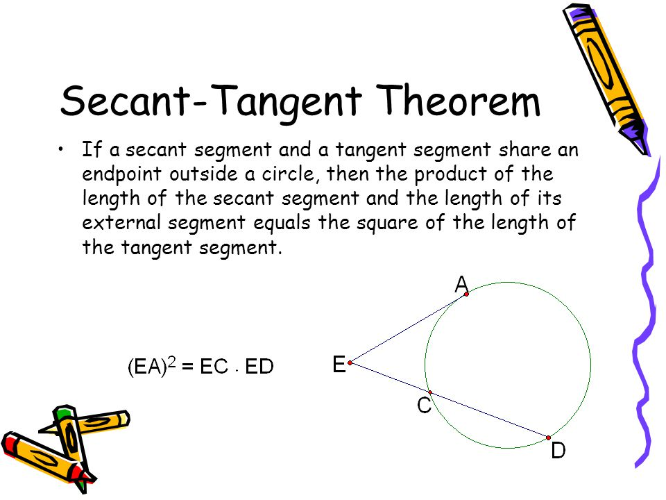 Secant-Tangent Theorem If a secant segment and a tangent segment share an endpoint outside a circle, then the product of the length of the secant segment and the length of its external segment equals the square of the length of the tangent segment.