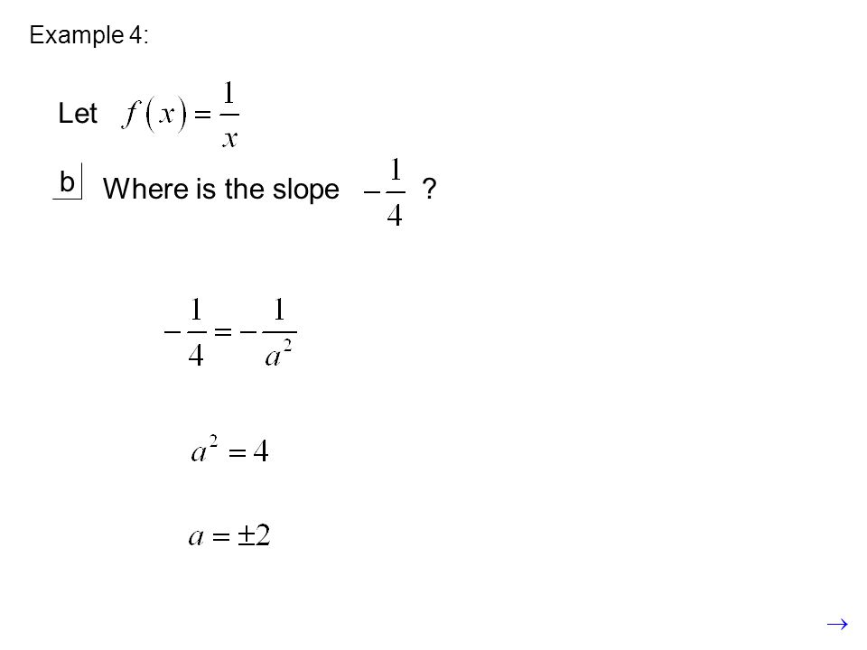 Example 4: b Where is the slope ? Let