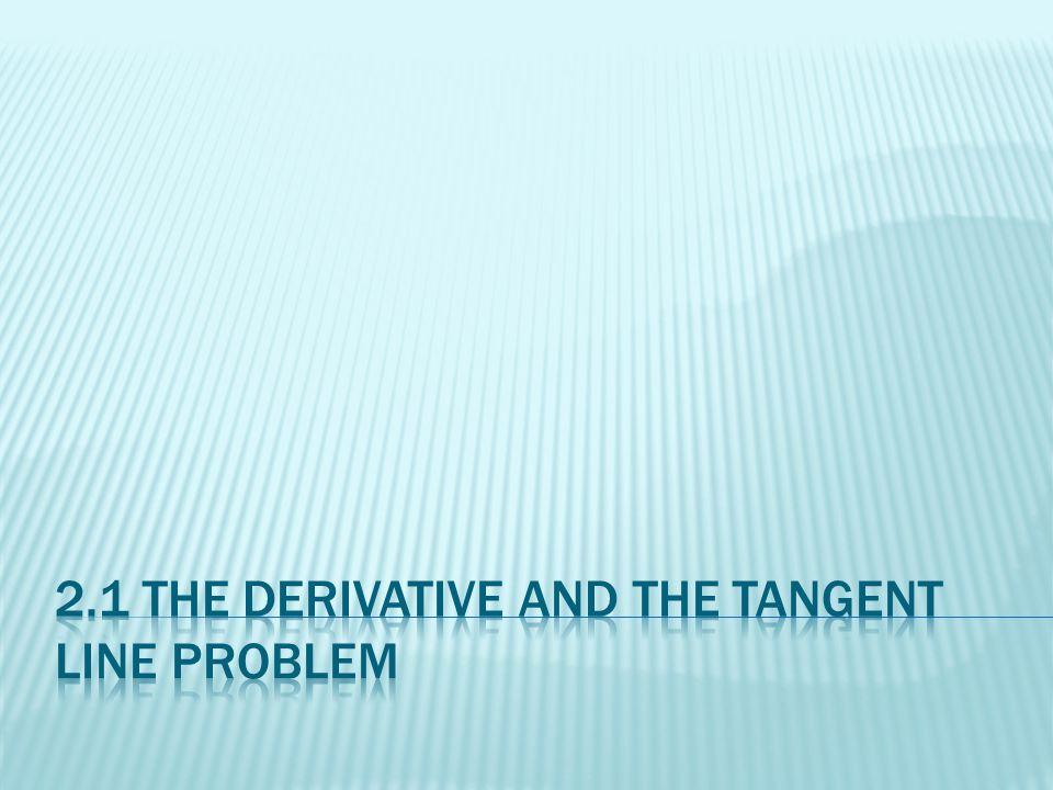The derivative of f at x is given by f'(x) = lim f(x + ∆x) – f(x) ∆x -> 0 ∆x provided the limit exists.
