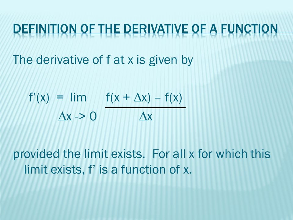 f'(x) f prime of x dy the derivative of y with respect to x dx dy – dx y' y prime d [f(x)] dx Dx[y]