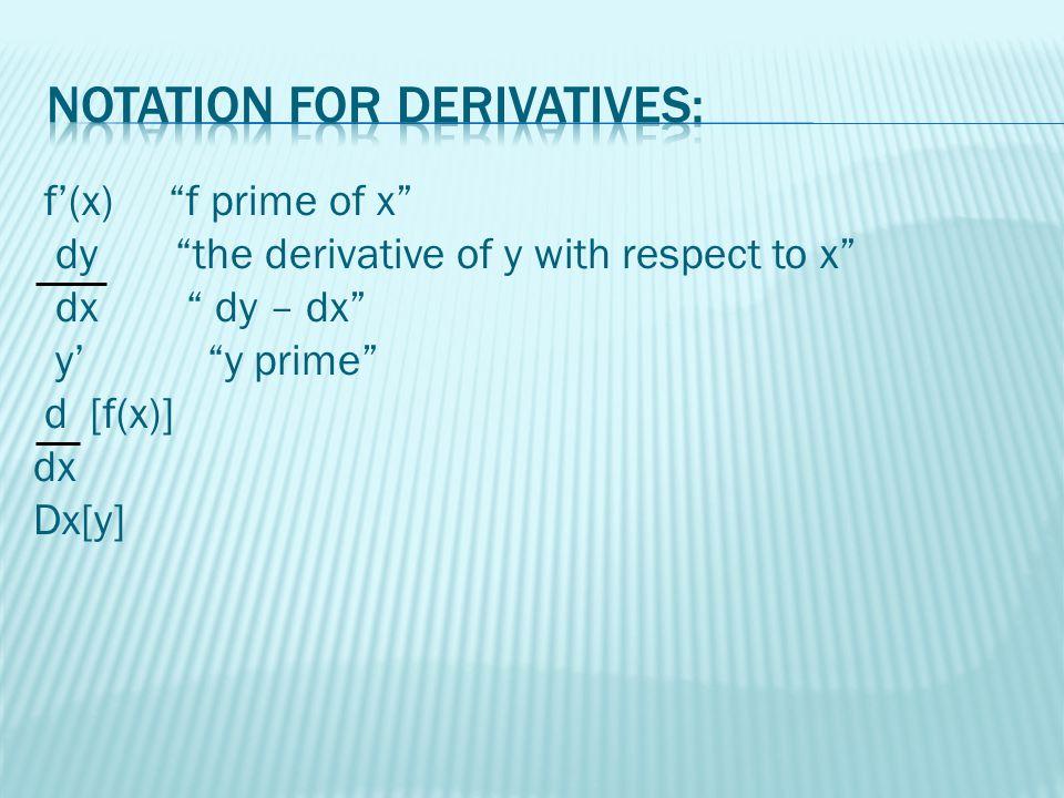 dy = lim ∆y dx ∆x 0 ∆x = lim f(x + ∆x) – f(x) ∆x 0 ∆x = f'(x)