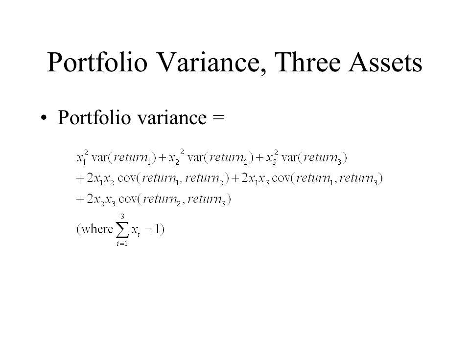 Portfolio Variance, Three Assets Portfolio variance =