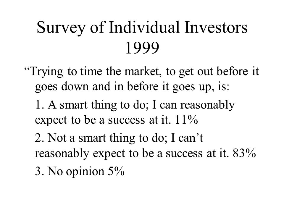 Survey of Individual Investors 1999 Trying to time the market, to get out before it goes down and in before it goes up, is: 1.