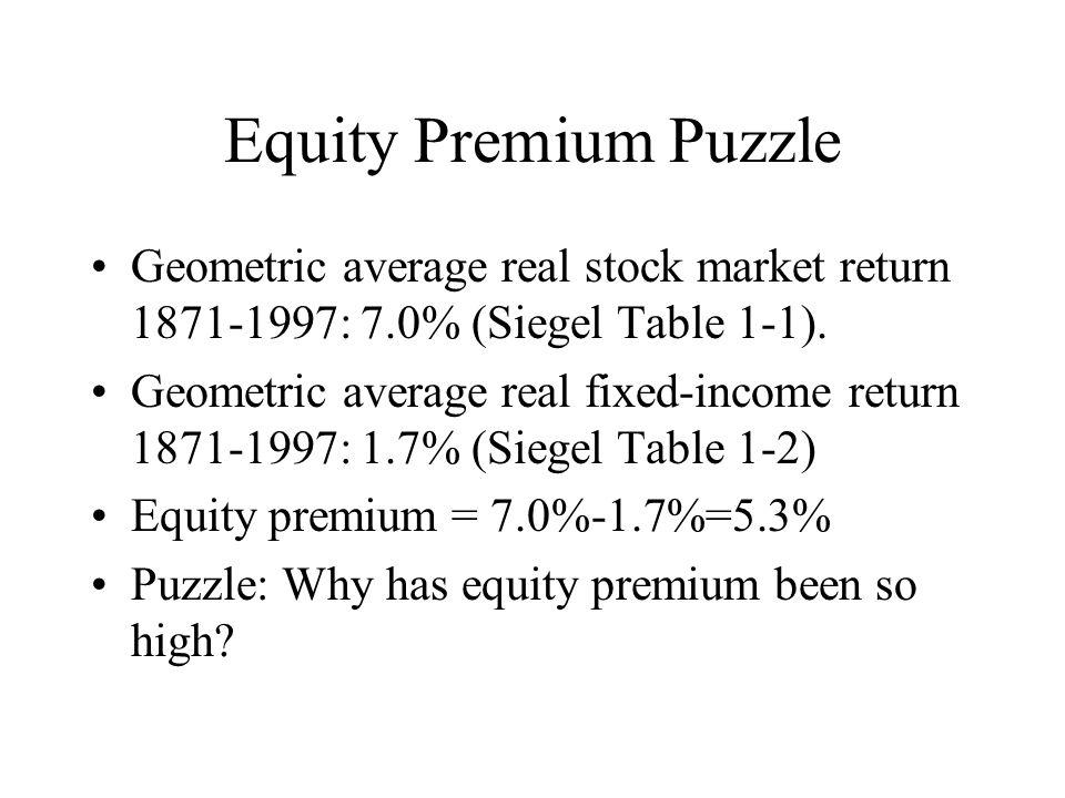 Equity Premium Puzzle Geometric average real stock market return 1871-1997: 7.0% (Siegel Table 1-1).