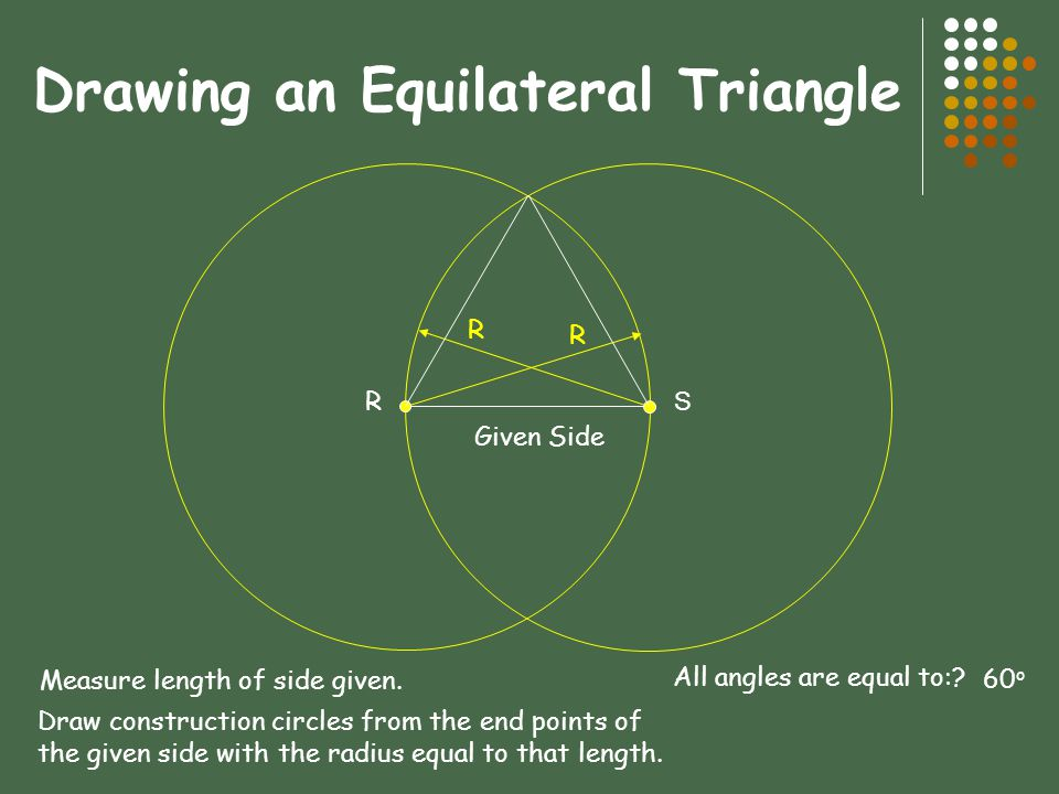 Drawing an Equilateral Triangle R Given Side S R R Measure length of side given.