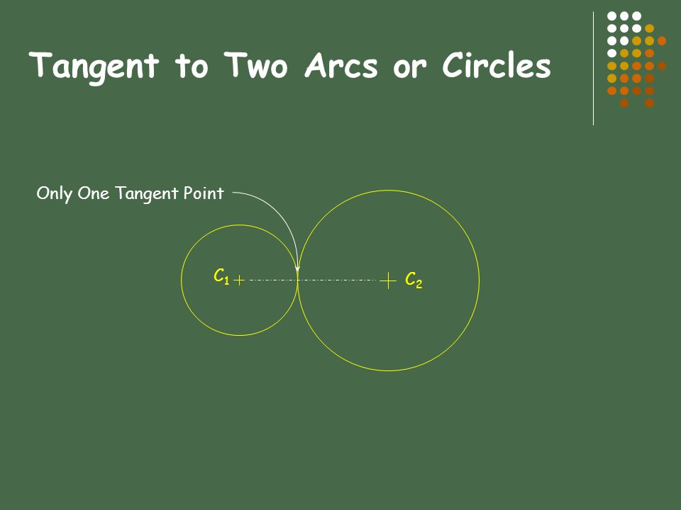 Tangent to Two Arcs or Circles C1C1 C2C2 Only One Tangent Point