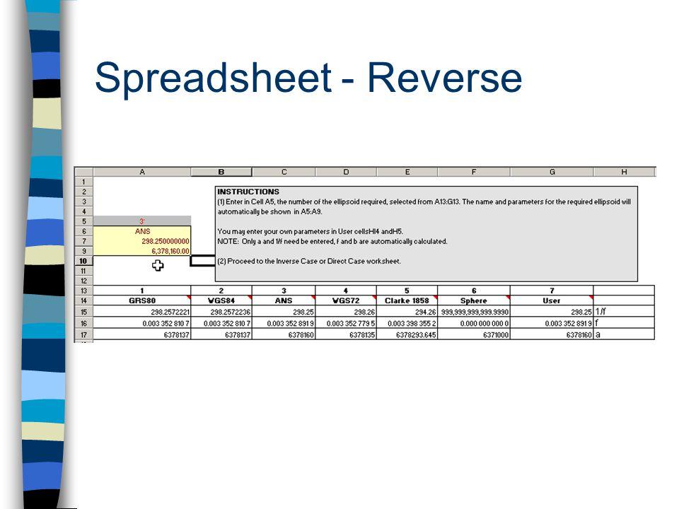 Spreadsheet - Reverse