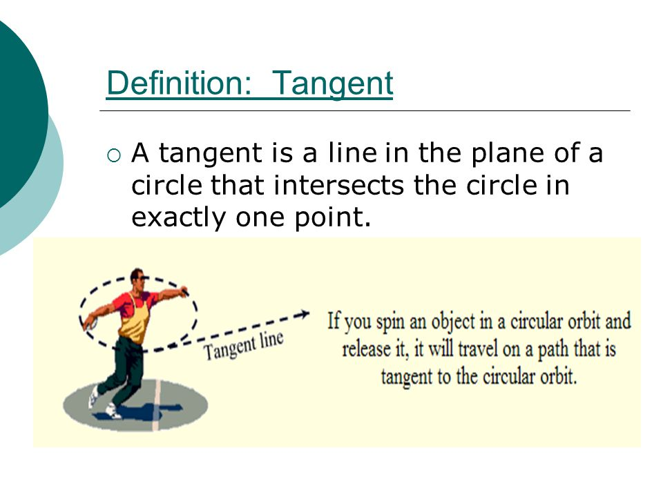 Definition: Tangent  A tangent is a line in the plane of a circle that intersects the circle in exactly one point.