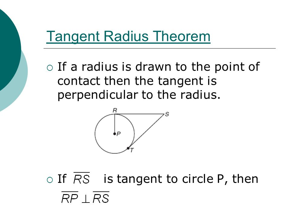 Tangent Radius Theorem  If a radius is drawn to the point of contact then the tangent is perpendicular to the radius.