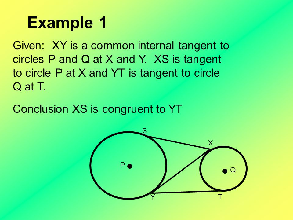 Example 2 TP is tangent to circle O at T.The radius of circle O is 8mm.