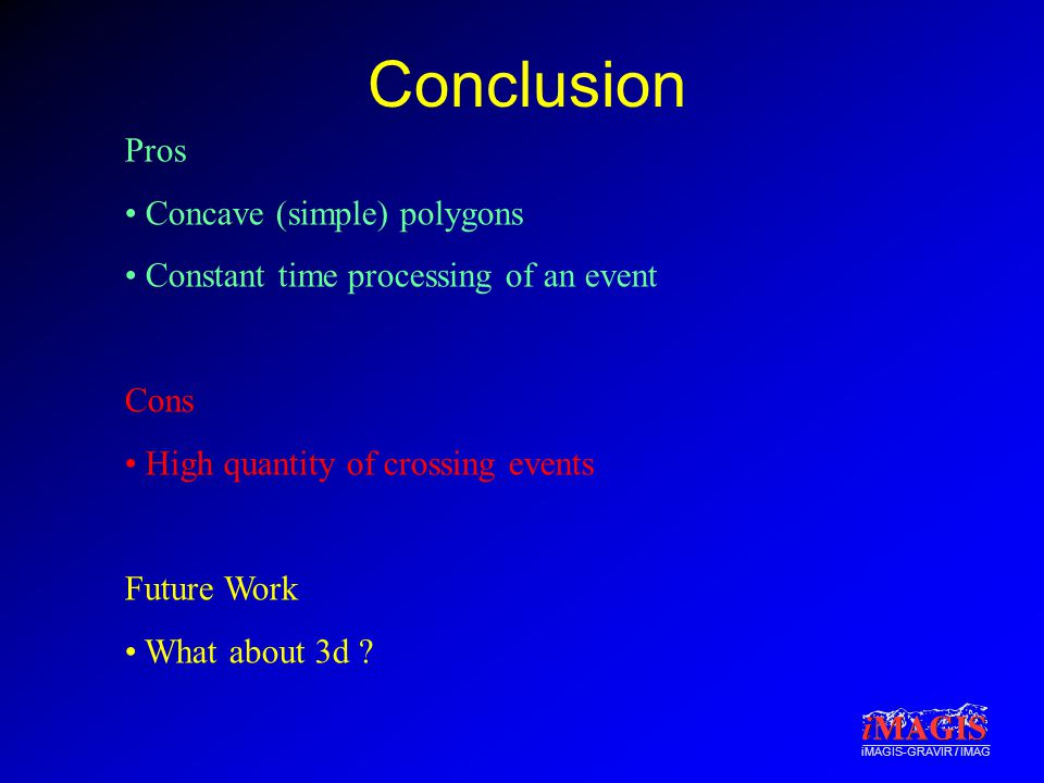 iMAGIS-GRAVIR / IMAG Conclusion Pros Concave (simple) polygons Constant time processing of an event Cons High quantity of crossing events Future Work What about 3d