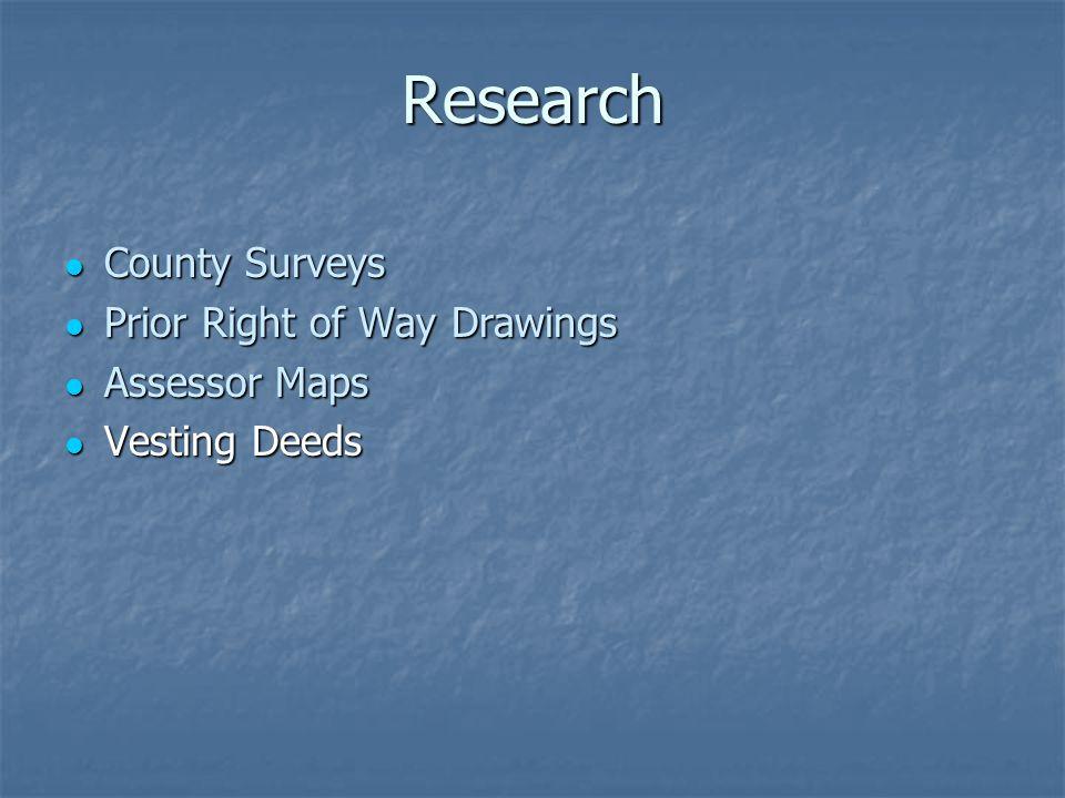 Research County Surveys County Surveys Prior Right of Way Drawings Prior Right of Way Drawings Assessor Maps Assessor Maps Vesting Deeds Vesting Deeds