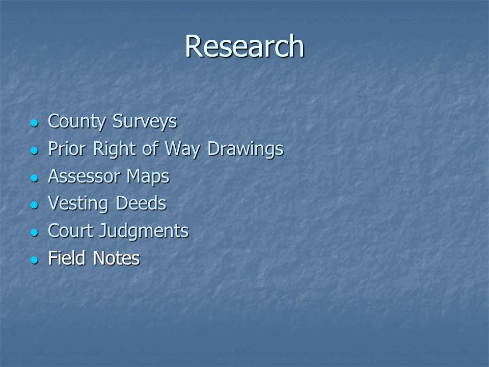 Research County Surveys County Surveys Prior Right of Way Drawings Prior Right of Way Drawings Assessor Maps Assessor Maps Vesting Deeds Vesting Deeds Court Judgments Court Judgments Field Notes Field Notes