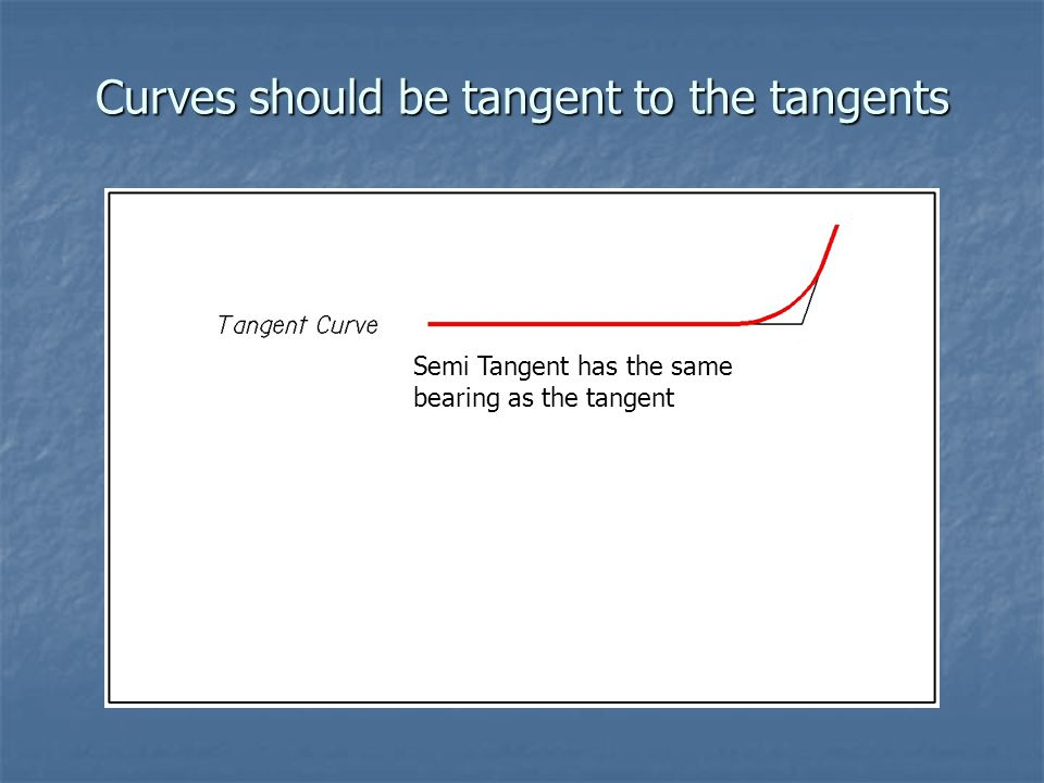 Curves should be tangent to the tangents Semi Tangent has the same bearing as the tangent
