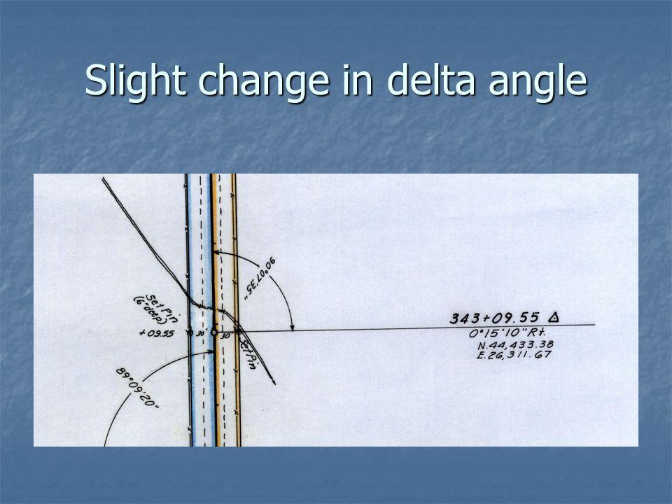 Slight change in delta angle