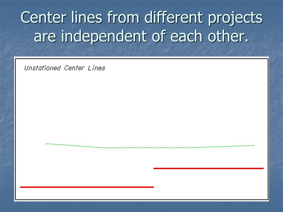Center lines from different projects are independent of each other.