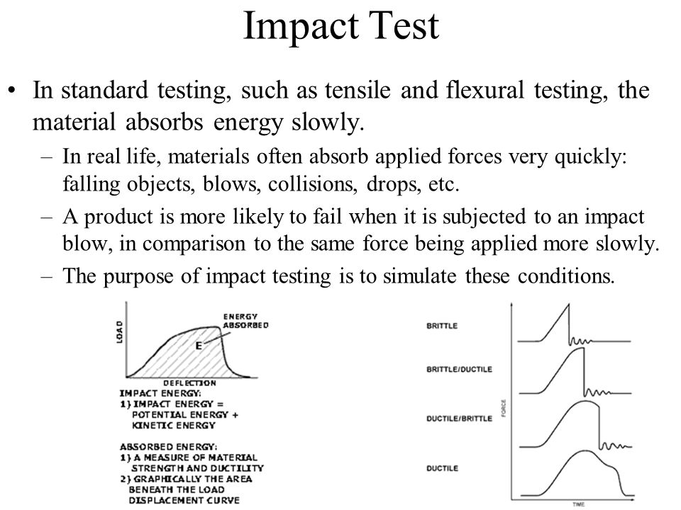 Impact Test In standard testing, such as tensile and flexural testing, the material absorbs energy slowly. –In real life, materials often absorb appli