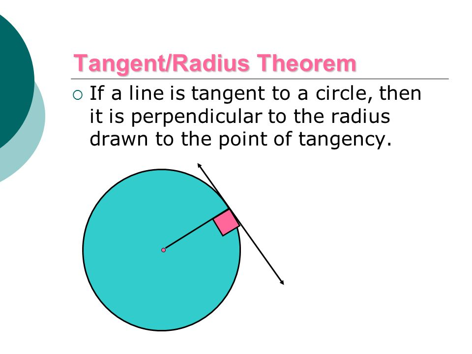 Tangent/Radius Theorem  If a line is tangent to a circle, then it is perpendicular to the radius drawn to the point of tangency.