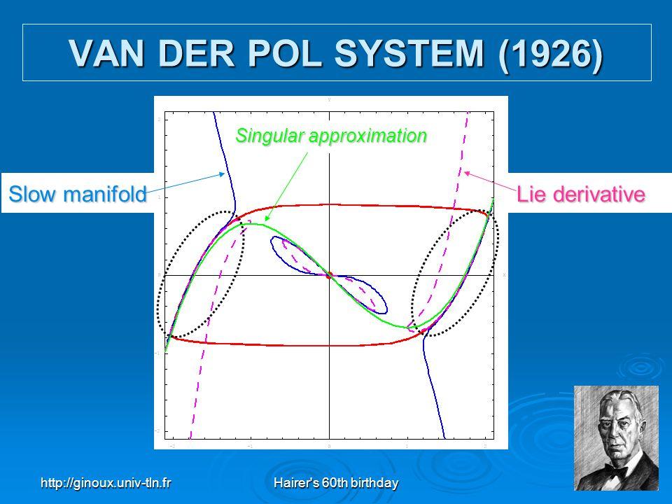 http://ginoux.univ-tln.frHairer's 60th birthday25 Slow manifold Lie derivative Singular approximation VAN DER POL SYSTEM (1926)