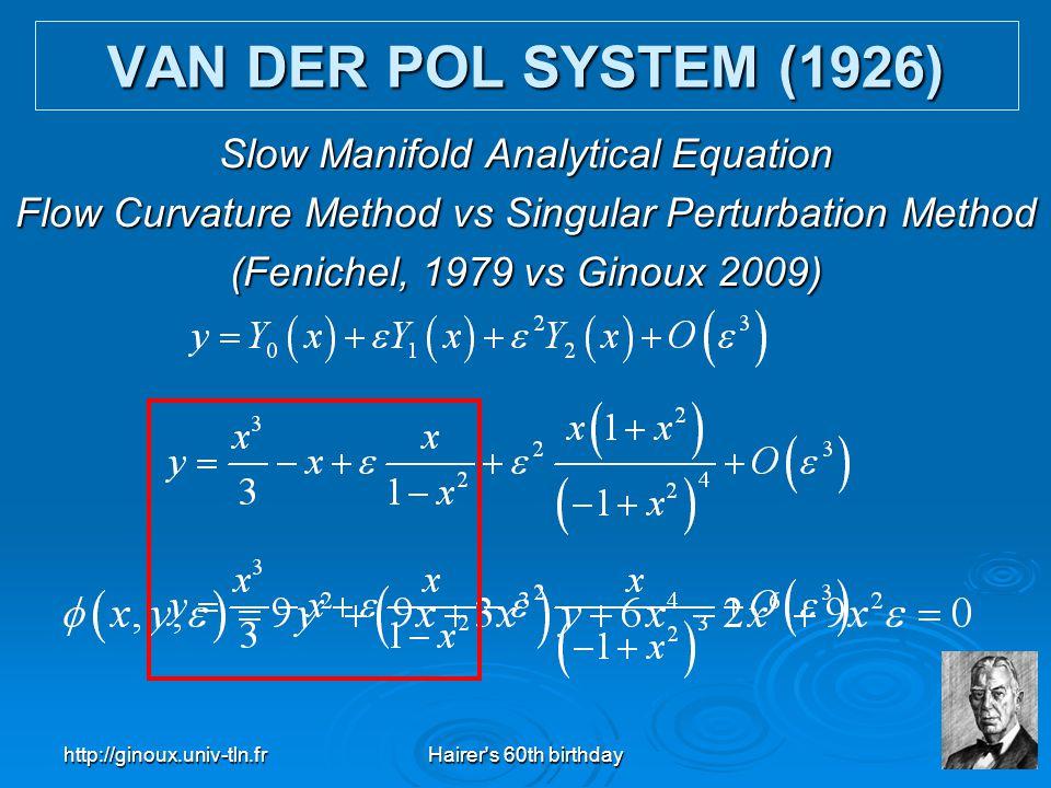 http://ginoux.univ-tln.frHairer's 60th birthday26 Slow Manifold Analytical Equation Flow Curvature Method vs Singular Perturbation Method (Fenichel, 1