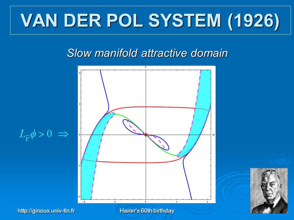 http://ginoux.univ-tln.frHairer's 60th birthday29 VAN DER POL SYSTEM (1926) Slow manifold attractive domain