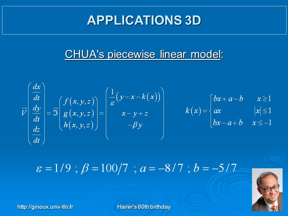 http://ginoux.univ-tln.frHairer's 60th birthday31 CHUA's piecewise linear model: APPLICATIONS 3D