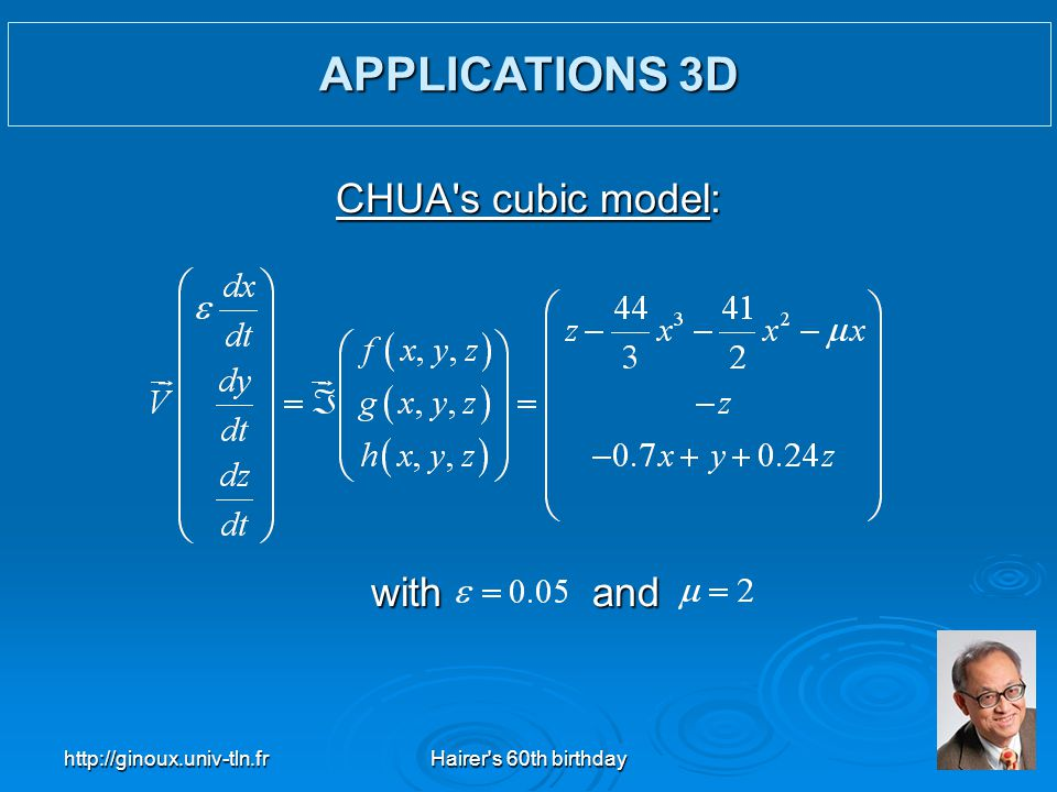 http://ginoux.univ-tln.frHairer's 60th birthday35 with and CHUA's cubic model: APPLICATIONS 3D