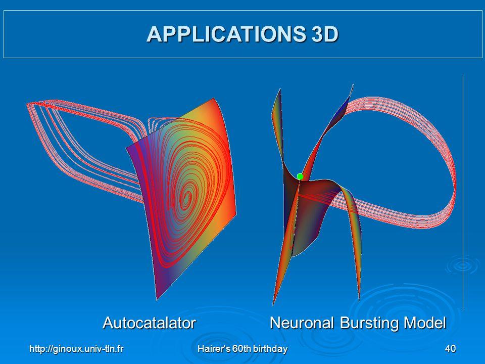 http://ginoux.univ-tln.frHairer's 60th birthday40 Autocatalator Neuronal Bursting Model APPLICATIONS 3D