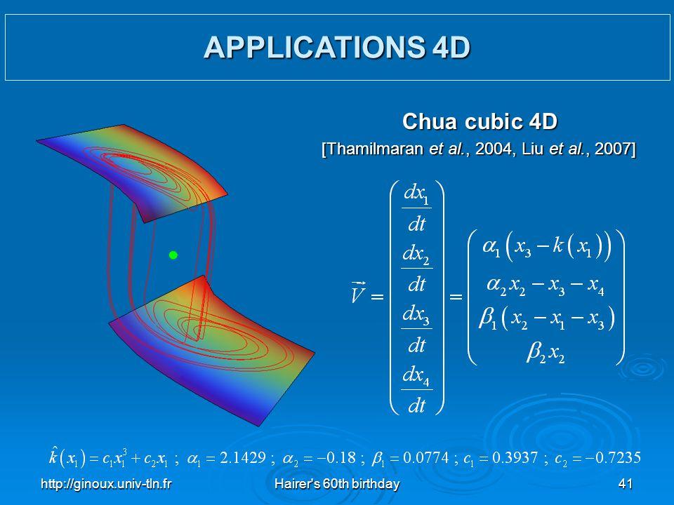 http://ginoux.univ-tln.frHairer's 60th birthday41 Chua cubic 4D [Thamilmaran et al., 2004, Liu et al., 2007] APPLICATIONS 4D