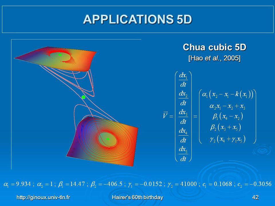 http://ginoux.univ-tln.frHairer's 60th birthday42 Chua cubic 5D [Hao et al., 2005] APPLICATIONS 5D