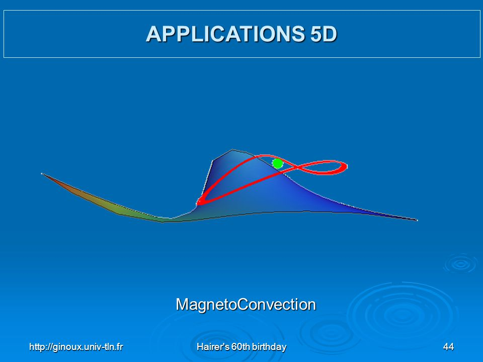 http://ginoux.univ-tln.frHairer's 60th birthday44 APPLICATIONS 5D MagnetoConvection