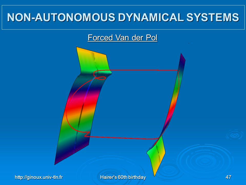 http://ginoux.univ-tln.frHairer's 60th birthday47 NON-AUTONOMOUS DYNAMICAL SYSTEMS Forced Van der Pol