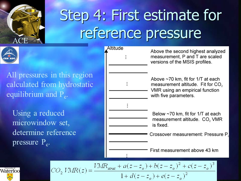 ACE Step 4: First estimate for reference pressure Using a reduced microwindow set, determine reference pressure P c.