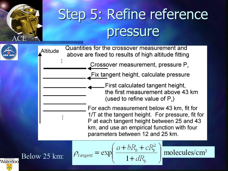 ACE Step 5: Refine reference pressure molecules/cm 3 Below 25 km: