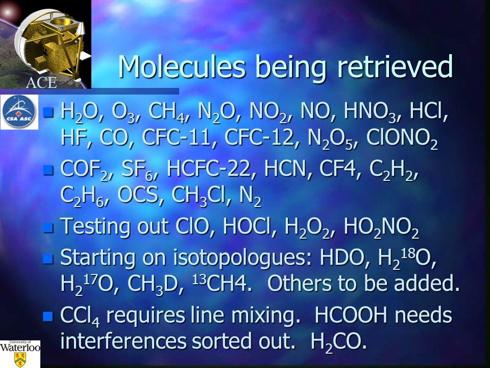 ACE Molecules being retrieved n H 2 O, O 3, CH 4, N 2 O, NO 2, NO, HNO 3, HCl, HF, CO, CFC-11, CFC-12, N 2 O 5, ClONO 2 n COF 2, SF 6, HCFC-22, HCN, CF4, C 2 H 2, C 2 H 6, OCS, CH 3 Cl, N 2 n Testing out ClO, HOCl, H 2 O 2, HO 2 NO 2 n Starting on isotopologues: HDO, H 2 18 O, H 2 17 O, CH 3 D, 13 CH4.