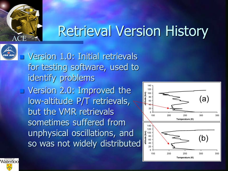 ACE Retrieval Version History n Version 1.0: Initial retrievals for testing software, used to identify problems n Version 2.0: Improved the low-altitude P/T retrievals, but the VMR retrievals sometimes suffered from unphysical oscillations, and so was not widely distributed