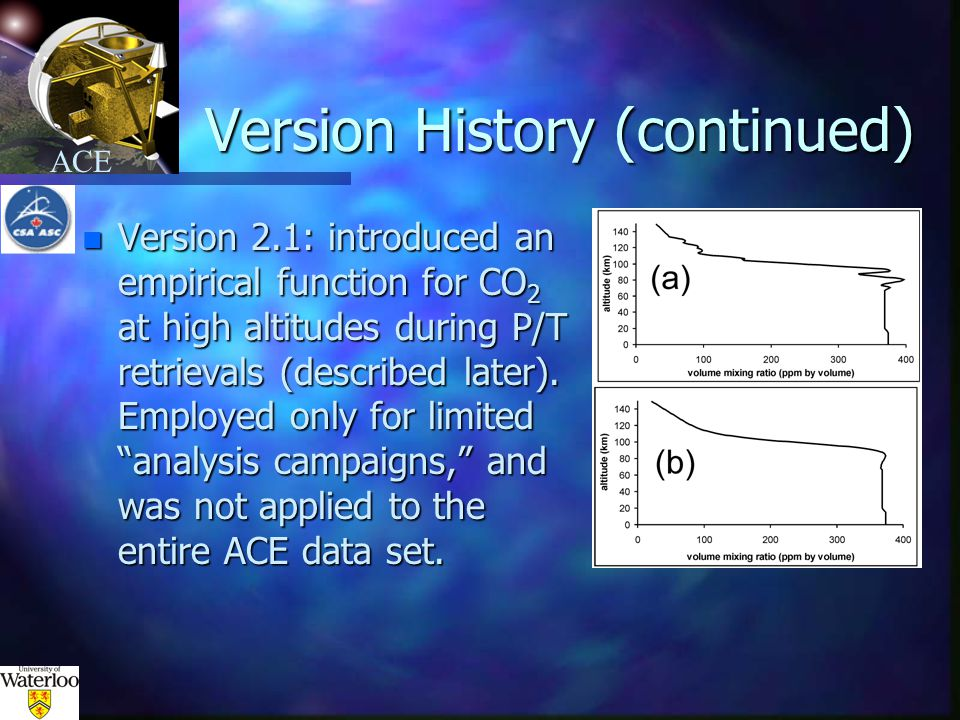 ACE Version History (continued) n Version 2.2: Scales MSIS-calculated P and T above the highest analyzed measurement during the P/T retrieval.