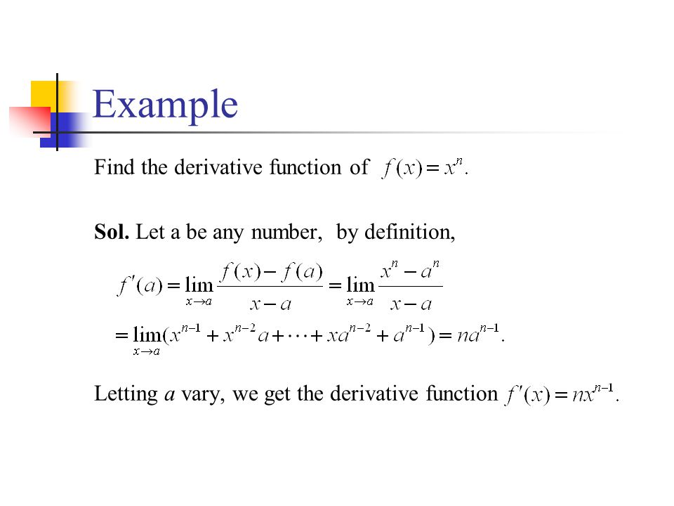 Example Find the derivative function of Sol. Let a be any number, by definition, Letting a vary, we get the derivative function