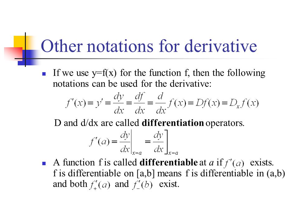 Other notations for derivative If we use y=f(x) for the function f, then the following notations can be used for the derivative: D and d/dx are called differentiation operators.