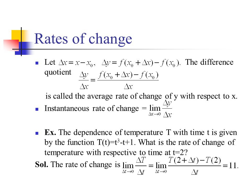 Rates of change Let The difference quotient is called the average rate of change of y with respect to x. Instantaneous rate of change = Ex. The depend