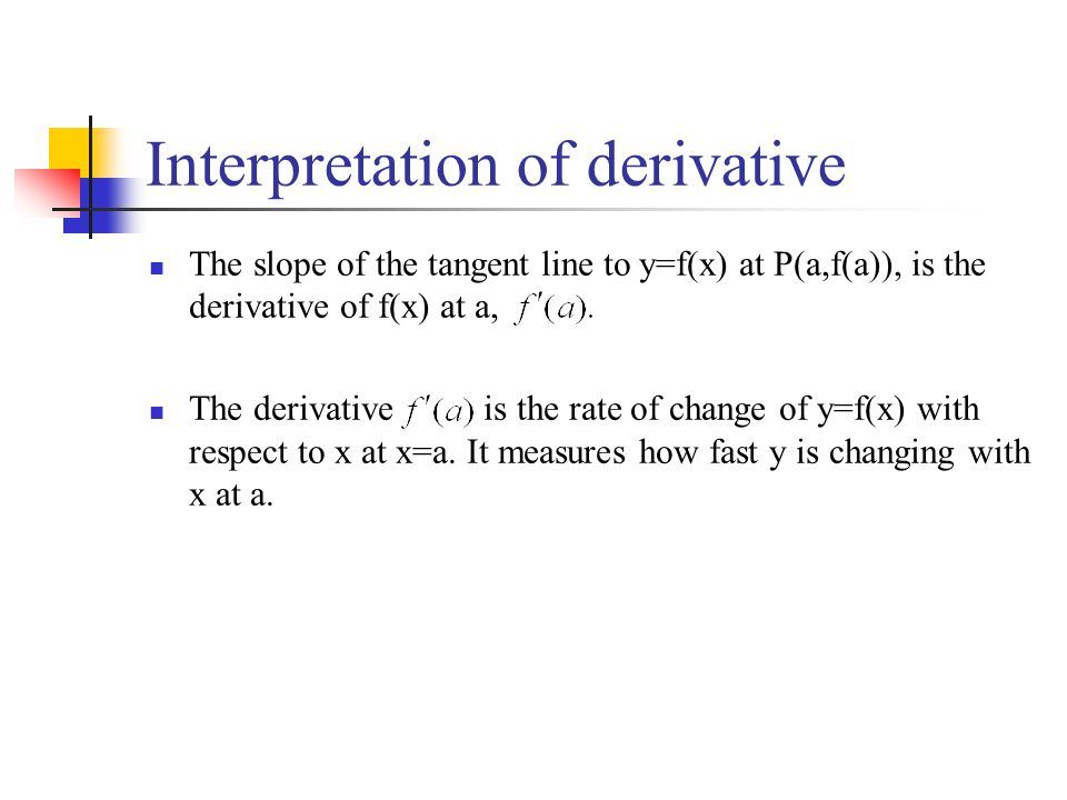 Interpretation of derivative The slope of the tangent line to y=f(x) at P(a,f(a)), is the derivative of f(x) at a, The derivative is the rate of chang