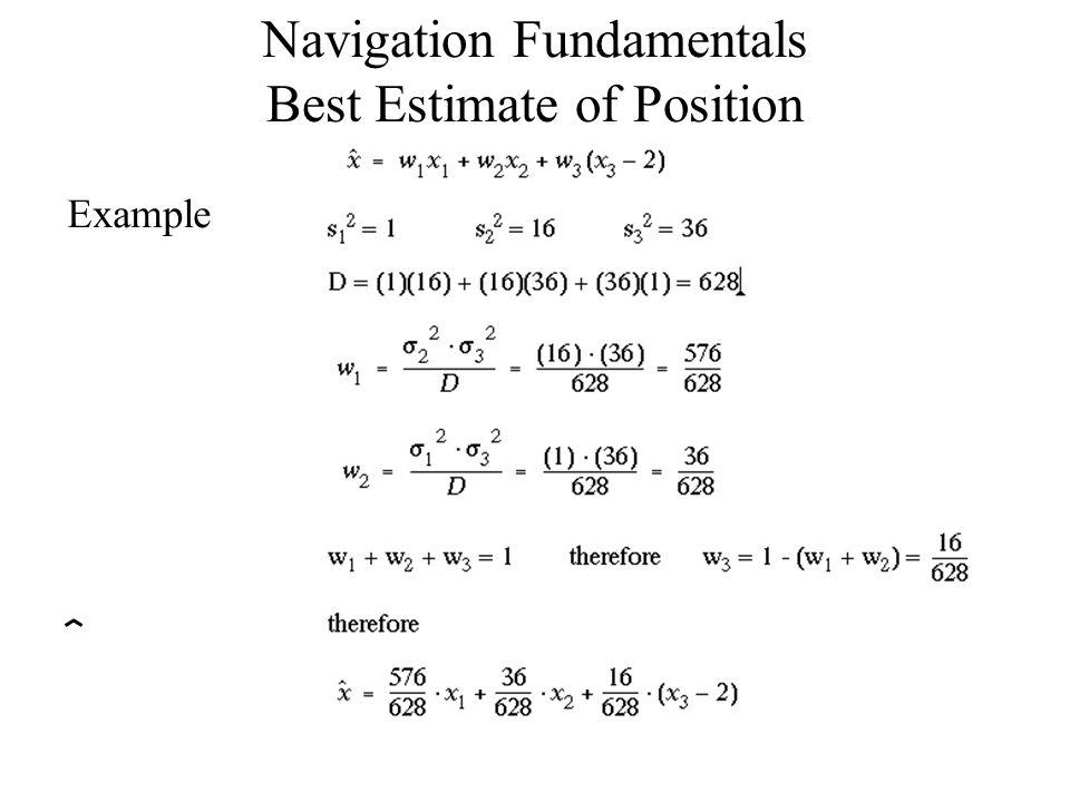 Example Navigation Fundamentals Best Estimate of Position