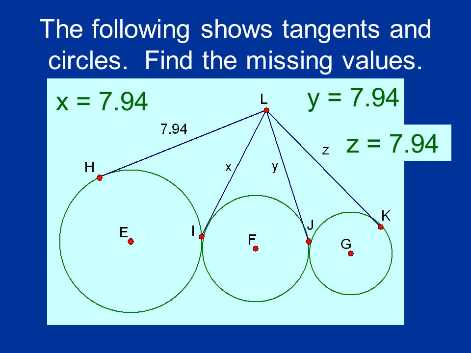 The following shows tangents and circles. Find the missing values. x = 7.94 y = 7.94 z = 7.94