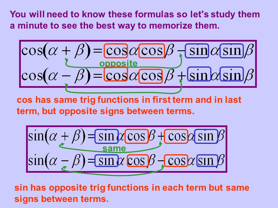 You will need to know these formulas so let s study them a minute to see the best way to memorize them.
