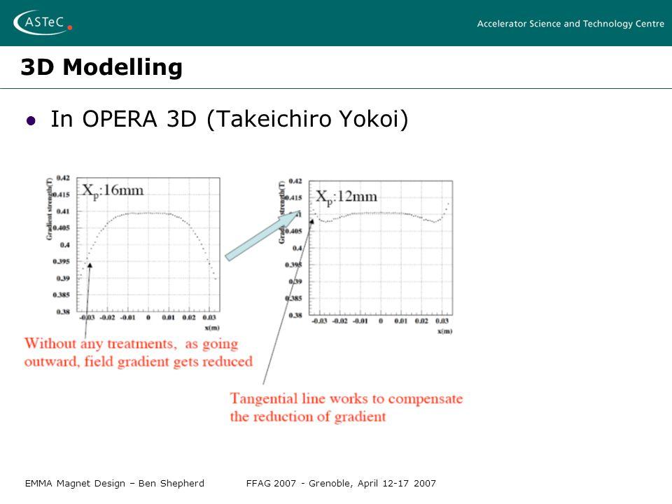 EMMA Magnet Design – Ben ShepherdFFAG 2007 - Grenoble, April 12-17 2007 3D Modelling In OPERA 3D (Takeichiro Yokoi)