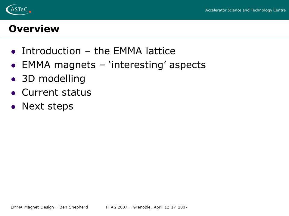 EMMA Magnet Design – Ben ShepherdFFAG 2007 - Grenoble, April 12-17 2007 Overview Introduction – the EMMA lattice EMMA magnets – 'interesting' aspects 3D modelling Current status Next steps