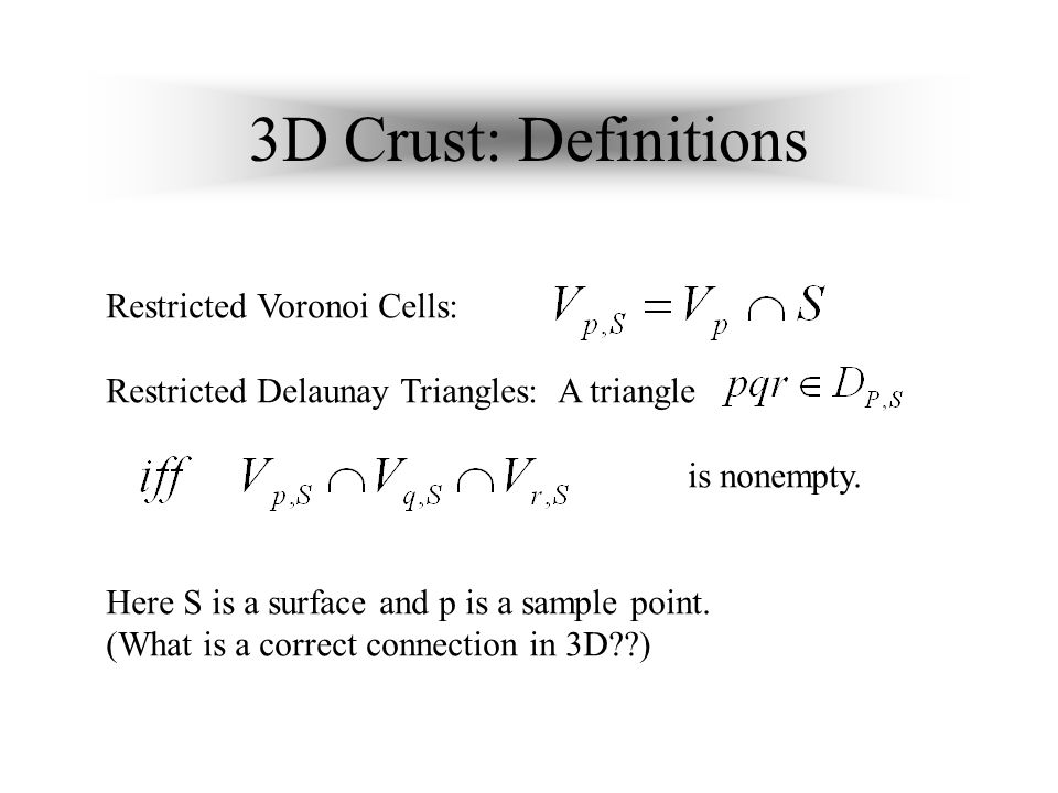 3D Crust: Definitions Restricted Voronoi Cells: Restricted Delaunay Triangles: A triangle is nonempty.